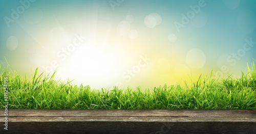 A natural spring garden background of fresh green grass with a bright blue sunny sky with a wooden table to place cut out products on.