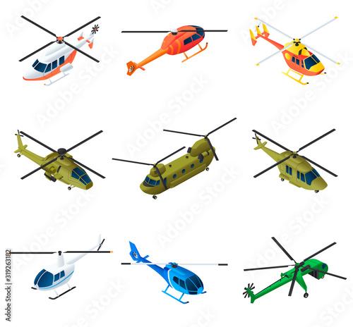 Obraz na plátně Helicopter icons set