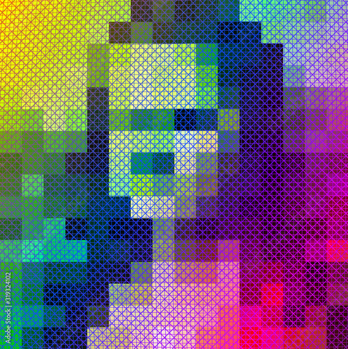Tablou Canvas colorful woman portrait in pixel art style, psychedelic grid