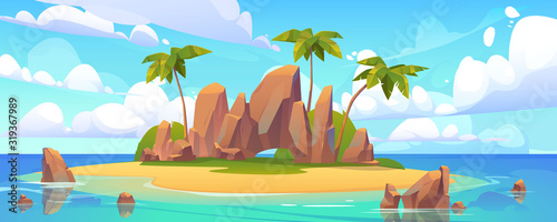 Island in ocean, uninhabited isle with beach, palm trees and rocks surrounded with sea water and cloudy sky above. Tropical landscape, empty land with sand and no people Cartoon vector illustration