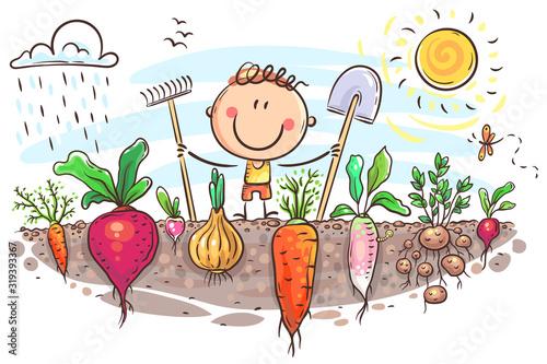 Stampa su Tela Happy farmer has grown a lot of vegetables