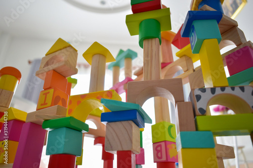 Stampa su Tela building wooden block toy geometric for kid learning development