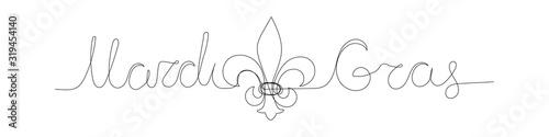 Mardi Gras carnival greeting card with traditional symbol of mardi gras - fleur de lis Fototapet