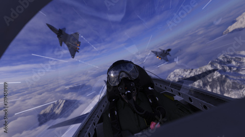 Fotografering Two chinese jet flying over pilot in cockpit 3d render dogfight scene