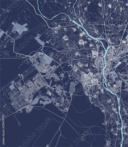 Obraz na plátně map of the city of Cairo, Giza, Egypt