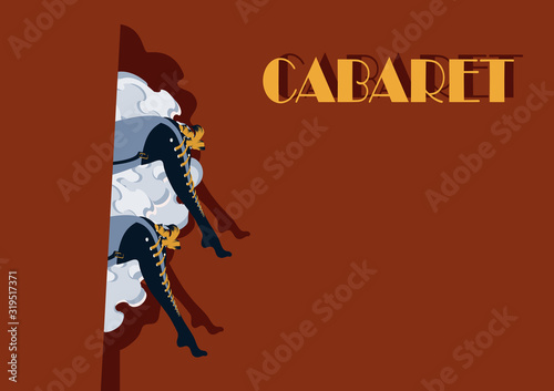 Photographie Cabaret Burlesque dancers background poster with women legs