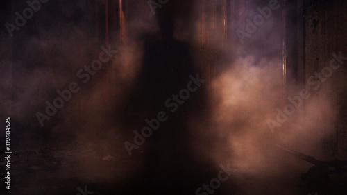 Fotografia Silhouette Person Standing Amidst Smoke At Night