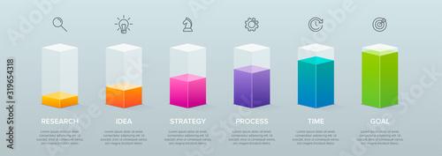 Fotografia 3d isometric Concept of arrow business model with 6 successive steps