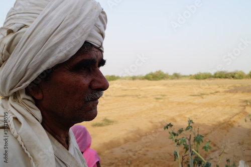 Canvas Print Close-Up Of Man Wearing Turban In Village