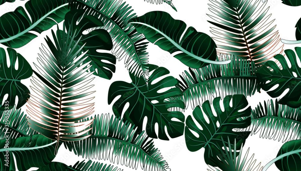 Tropikalne liście palmowe, dżungla liść bezszwowe wektor kwiatowy wzór tła <span>plik: #319855335   autor: andrei</span>