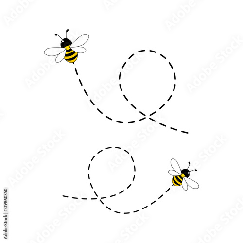 Obraz na plátně Bee flying on a dotted route isolated on the white background