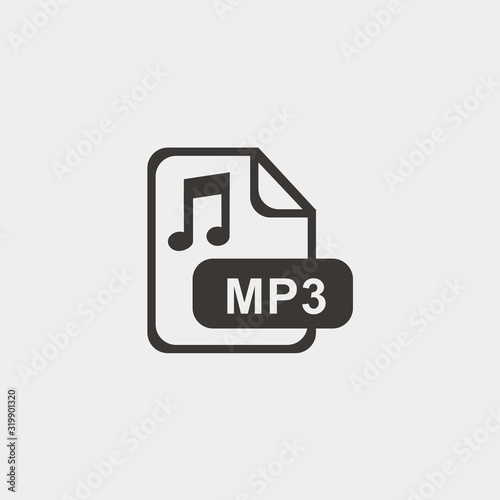 Tablou Canvas mp3 format icon vector illustration and symbol foir website and graphic design