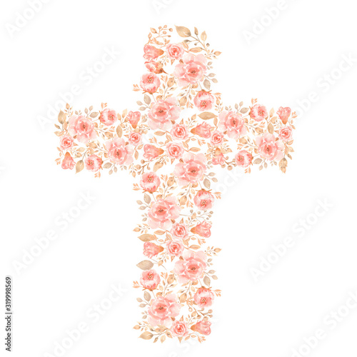 Watercolor Easter Cross Clipart, Spring Coral Floral Arrangements, Baptism Crosses DIY Invitation, Greenery Easter clipart, Holy Spirit Fototapete