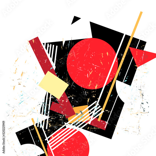 Fotografie, Obraz Abstract vector avant-garde pattern with geometry