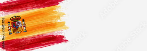Wallpaper Mural Banner with grunge brushed flag of Spain