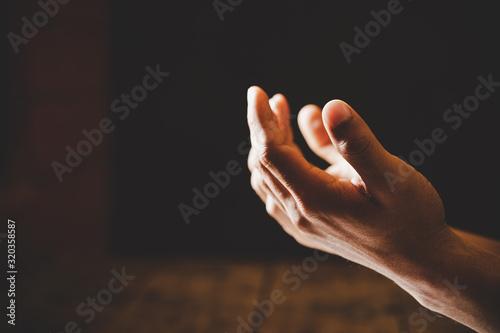 Foto Close up prayer hand pray in church, Pastor pray to God.