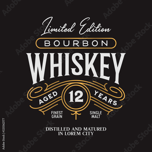 Whiskey Bourbon label logo emblem. Vintage vector illustration. Fototapeta