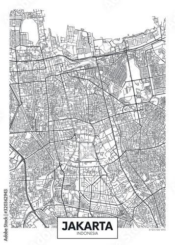 Fototapeta City map Jakarta, travel vector poster design