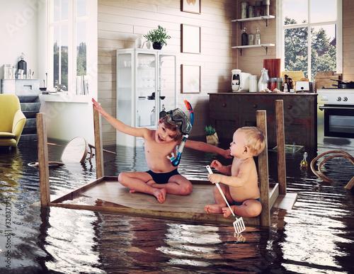 Obraz na plátne kids and flooding