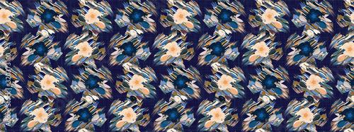 Fényképezés Distorted graphic daisy flower seamless border pattern