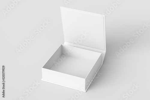 Foto Blank white flat square gift box with opened hinged flap lid on white background