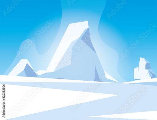 Fotografie, Obraz arctic landscape with blue sky and iceberg, north pole