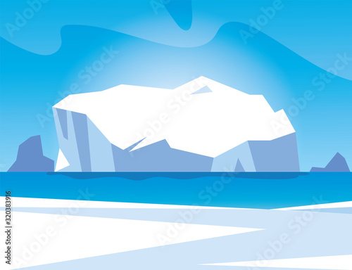 Fotografia arctic landscape with blue sky and iceberg, north pole