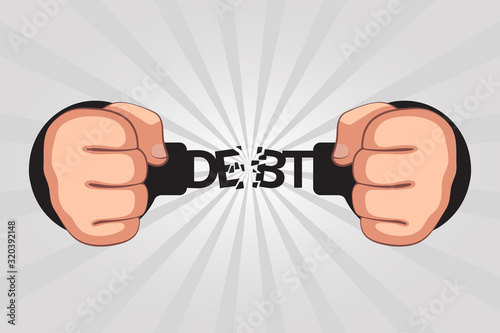 Fotomural Concept of debt repayments by debtor and getting free from loans