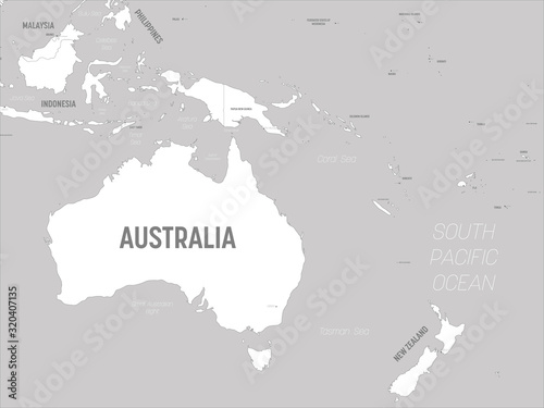 Wallpaper Mural Australia and Oceania map - white lands and grey water