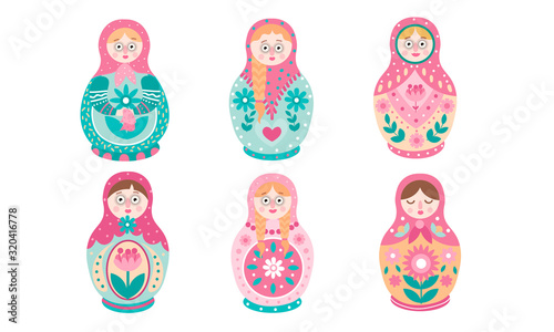 Photo Traditional Russian nesting doll with different patterns vector illustration