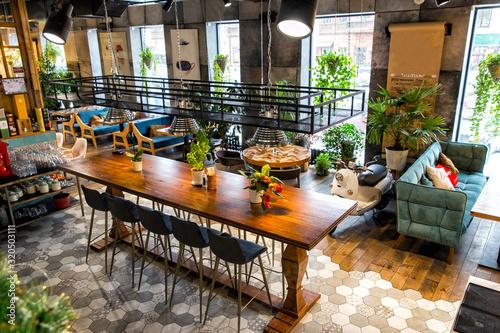 Fényképezés Interior of modern loft style restaurant