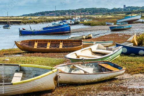Obraz na płótnie Boats at Morston Quay on north Norfolk coast, East Anglia, England, UK