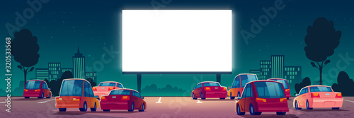 Canvas Print Outdoor cinema, drive-in movie theater with cars on open air parking