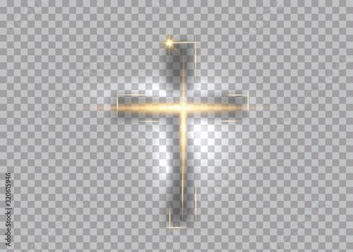 Fotografering cross of light, shiny Cross with golden frame symbol of christianity