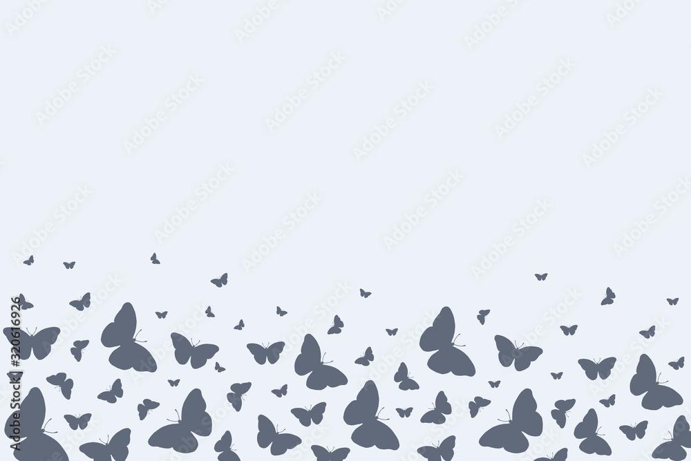 Background with butterflies. Vector background with butterflies with doodle doodles. Linear illustration. <span>plik: #320616926 | autor: Viktoriia</span>