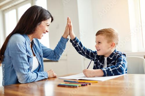 Wallpaper Mural homework teaching boy high five education mother children son familiy childhood