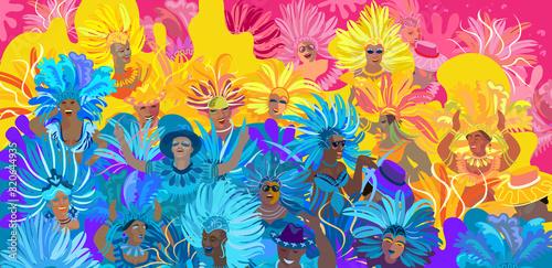 Fototapeta 2020 Abstract Rio Brazilian Carnival music dance festival night party Samba danc