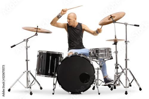 Stampa su Tela Bald man musician playing drums