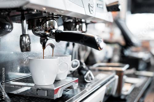 Cuadros en Lienzo two black coffee morning on coffee maker