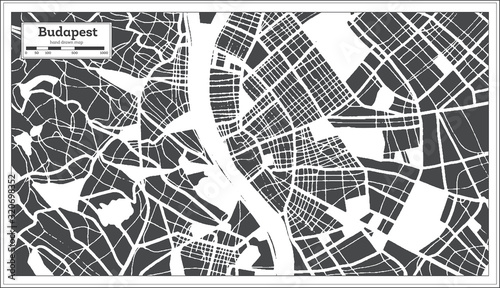 Photo Budapest Hungary City Map in Retro Style. Outline Map.