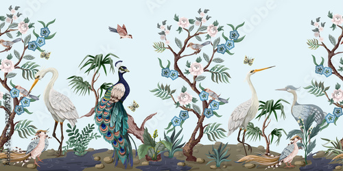Fotografia Border in chinoiserie style with herons, peacock and peonies