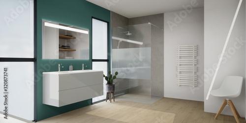 Slika na platnu vue 3d salle de bain avec douche à l'italienne, double vasque suspendu 02