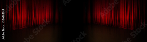 Canvas Print background with red curtain panorama