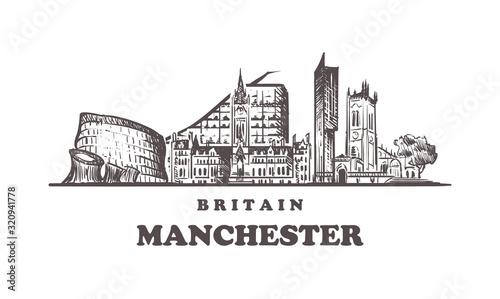 Fotografering Manchester sketch skyline