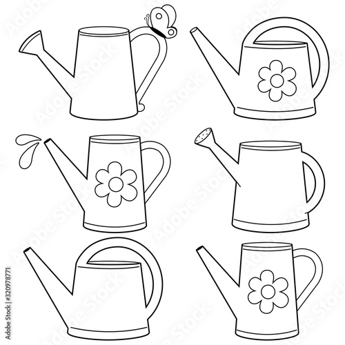 Fotografie, Obraz Watering cans illustration collection