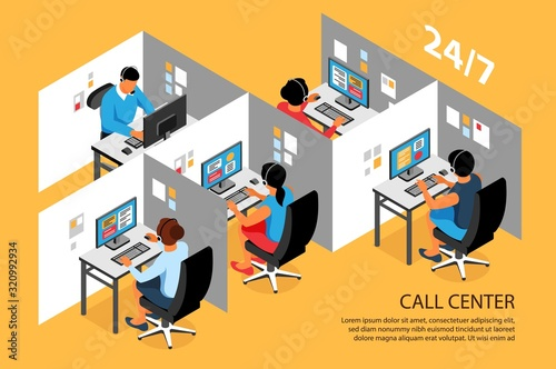 Stampa su Tela Call Center Isometric Composition
