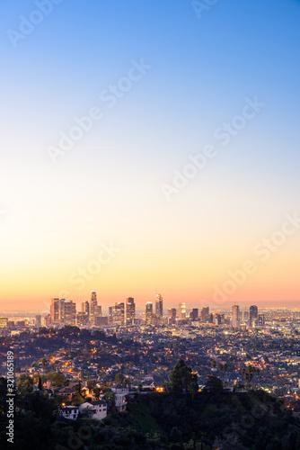 Obraz na plátně Downtown Los Angeles skyline at sunrise