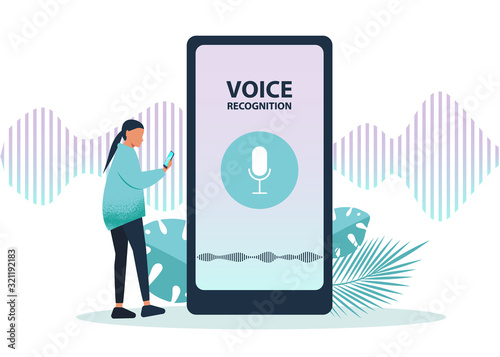 Foto Male character using voice control for his phone