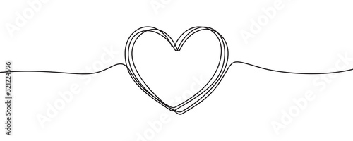 Fotografering Heart sketch doodle, vector hand drawn heart in tangled thin line thread divider isolated on white background