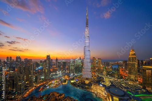 Fotografia, Obraz Aerial view of Burj Khalifa in Dubai Downtown skyline and fountain, United Arab Emirates or UAE